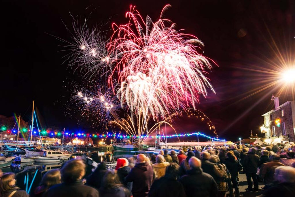 The annual fireworks display over the harbour at the Padstow Christmas Festival.