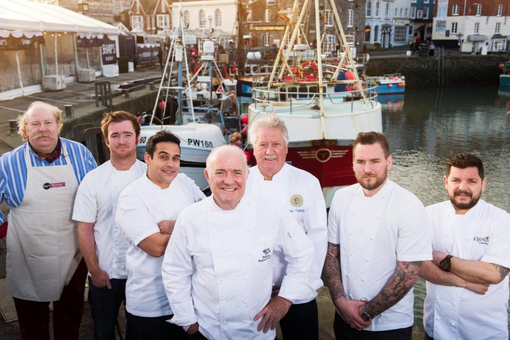 From left: Jack Stein, Paul Ainsworth, Hugo Woolley, Rick Stein, Brian Turner, John Walton, Paul Dodd. The chefs appeared at the 2015 Padstow Christmas Festival.